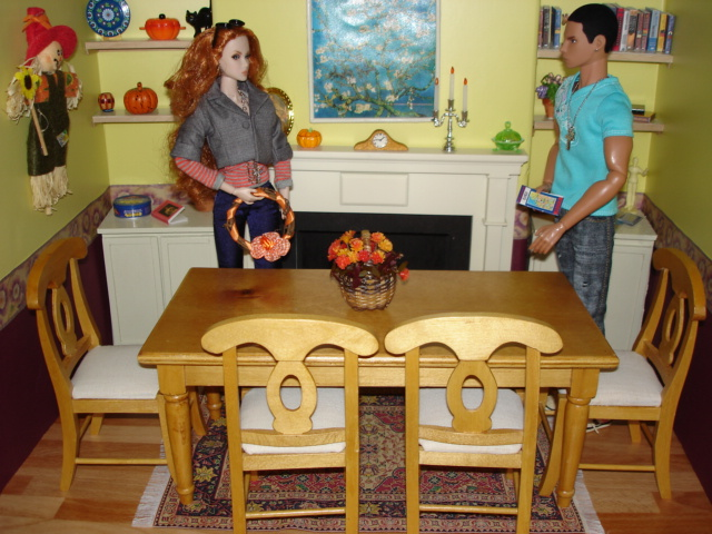 1:6 scale Fashion Royalty Doll house Diorama:  Decorating for Autumn with Eden & Francisco