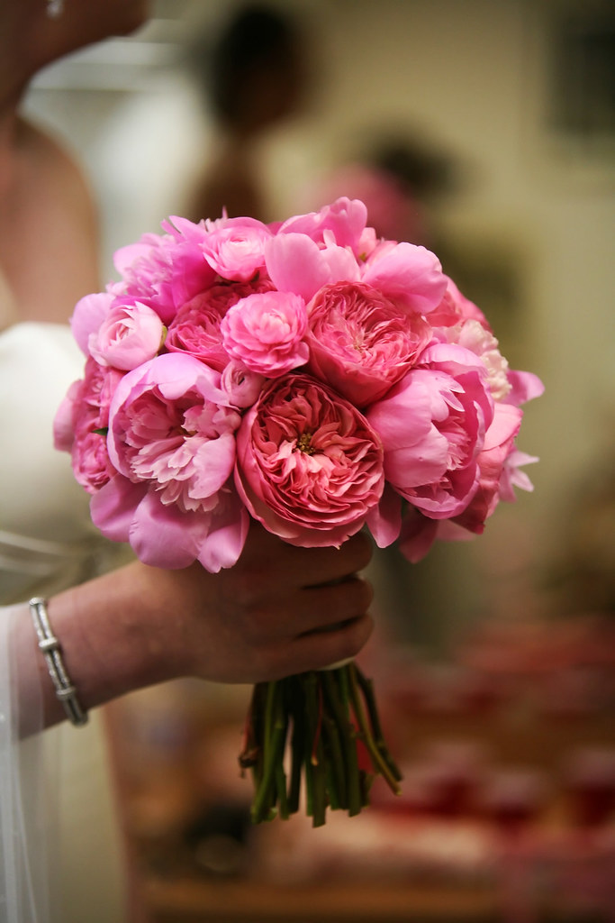 pink bouquet with garden roses and peonies by blue bouquet