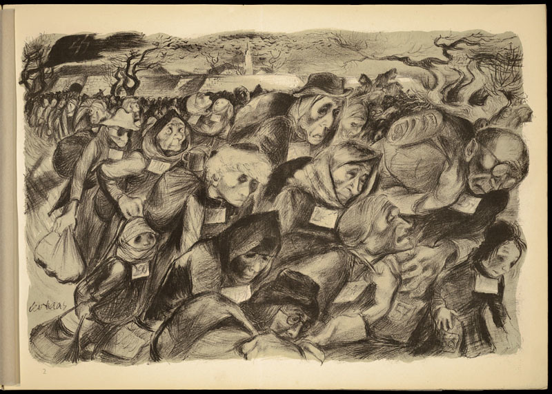 Lithograph by Leo Haas (1901-1983), Holocaust artist, who ...