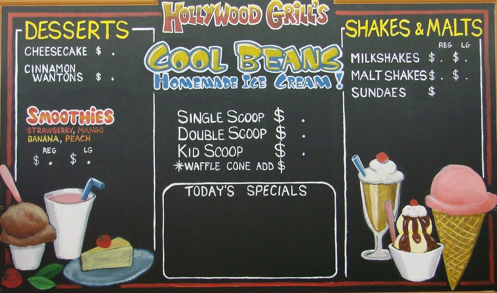 chalkboard menus