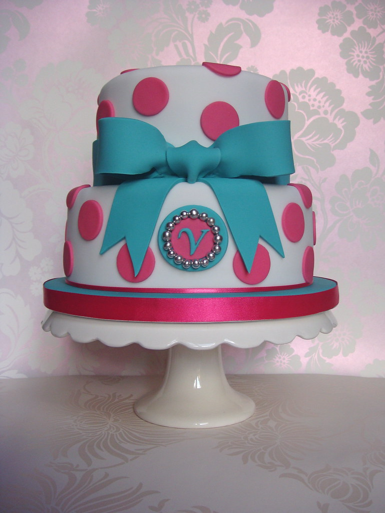 Pink Amp Teal Spots And Bow 21st Birthday Cake I Made This