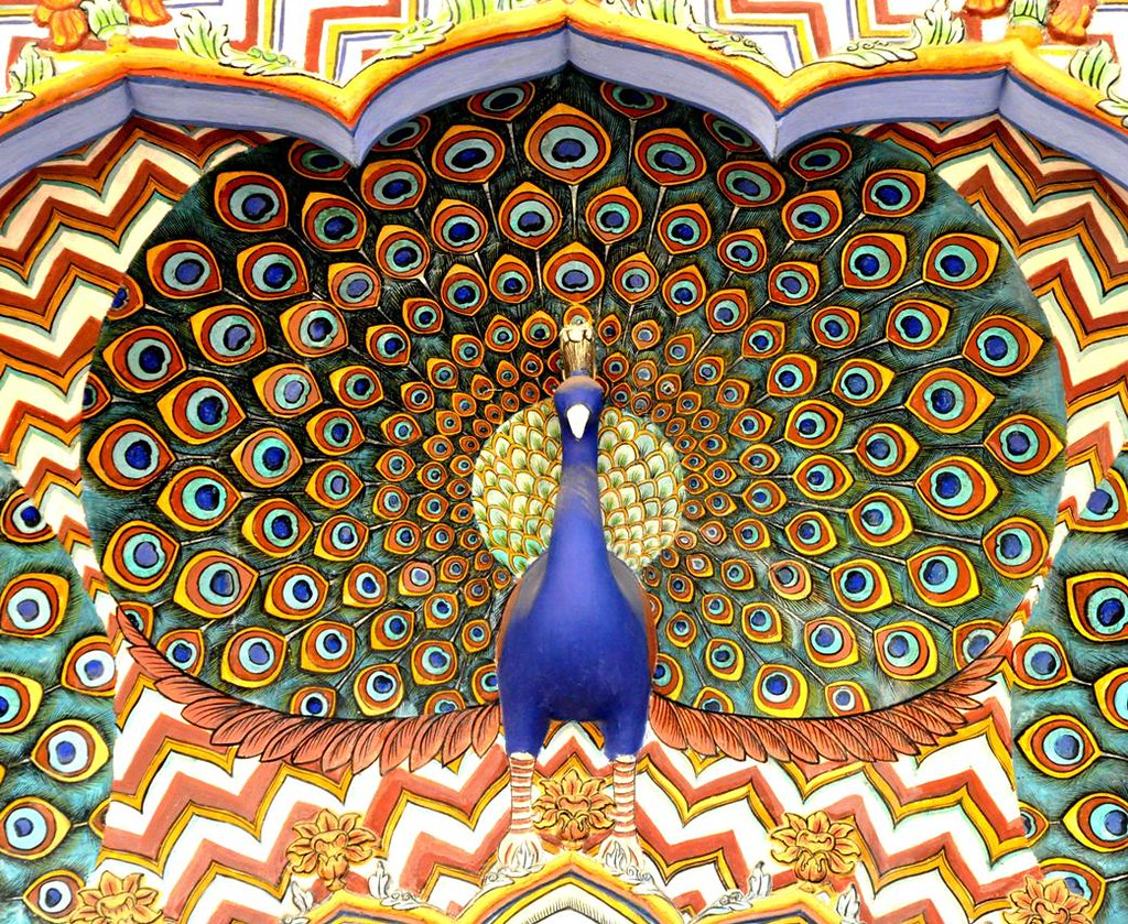 peacock motif... | ...painted using natural extracts ...