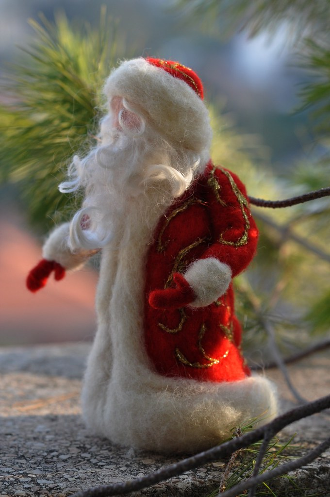 Needle Felted Santa Claus Waldorf Inspired Standing Doll S