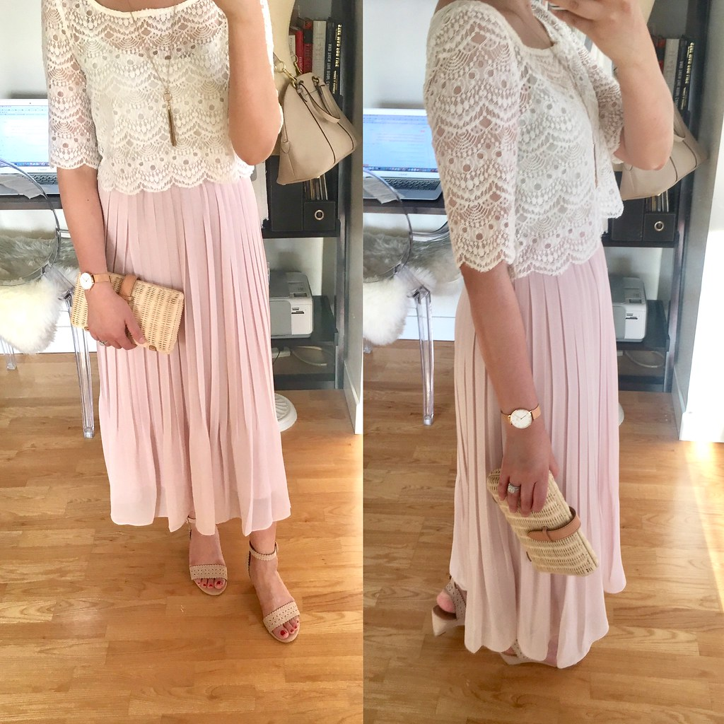 Uniqlo Women High Waist Chiffon Pleated Skirt Size Xs