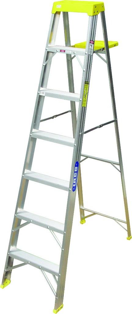 Escalera tipo tijera de aluminio de uso comercial for Escalera telescopica tipo tijera