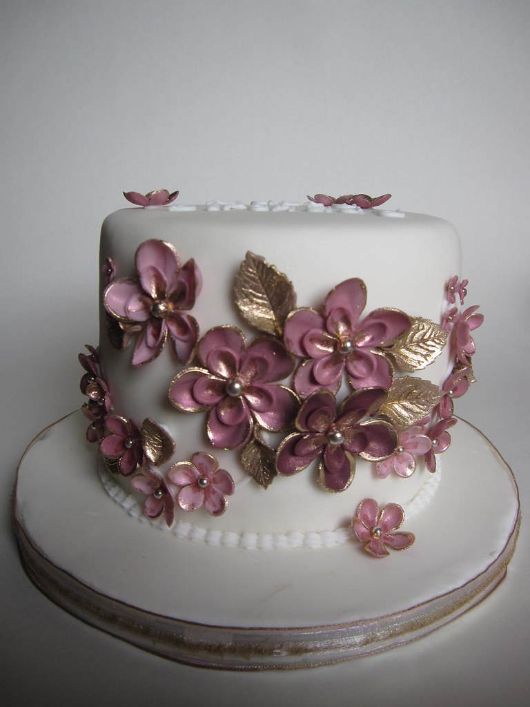 Pink gold birthday cake Birthday cake for my sister va Flickr