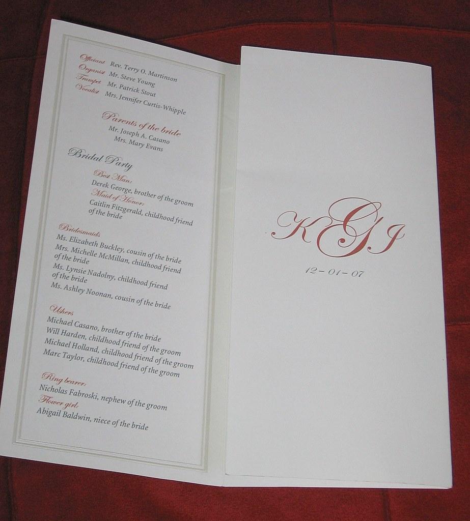Tri Fold Wedding Program Inside
