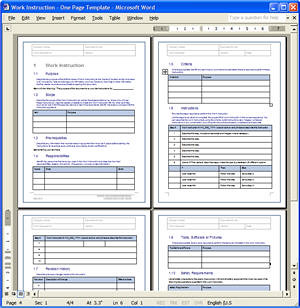 Work Instructions Wi Template 4 Page Work Instructions