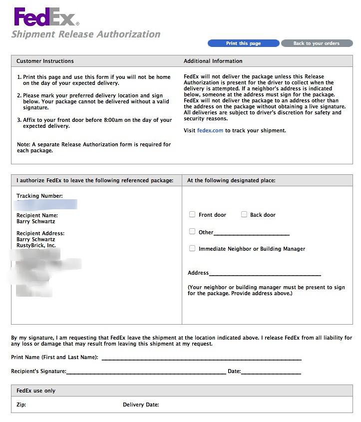 Fedex Shipment Release Authorization