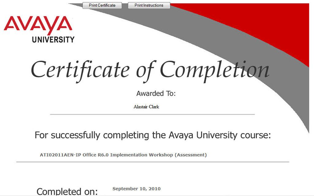 Avaya Certifcation | Avaya University, Certificate of Comple… | Flickr