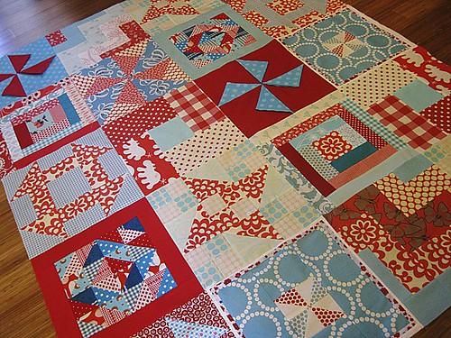 Red & Aqua Sampler Quilt Top | by StitchedInColor