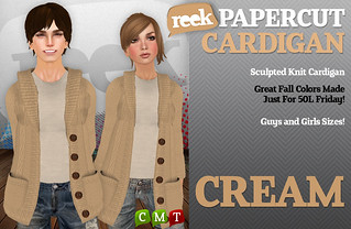 Reek - Papercut Cardigan - Cream | by Riq Graves