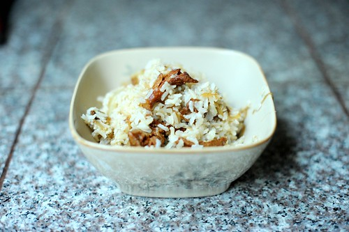 rice with caramelized onions and chanterelles | by sassyradish