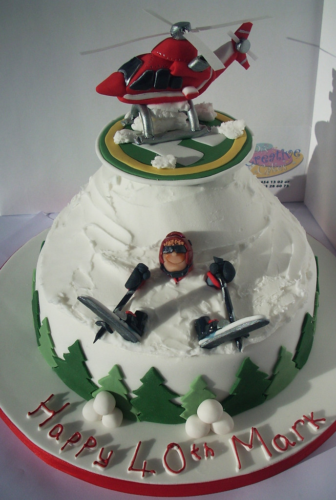 Heli Ski Cake A 40th Cake To Go With The Birthday Gift