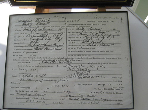 Bogart and Bacall's Marriage License