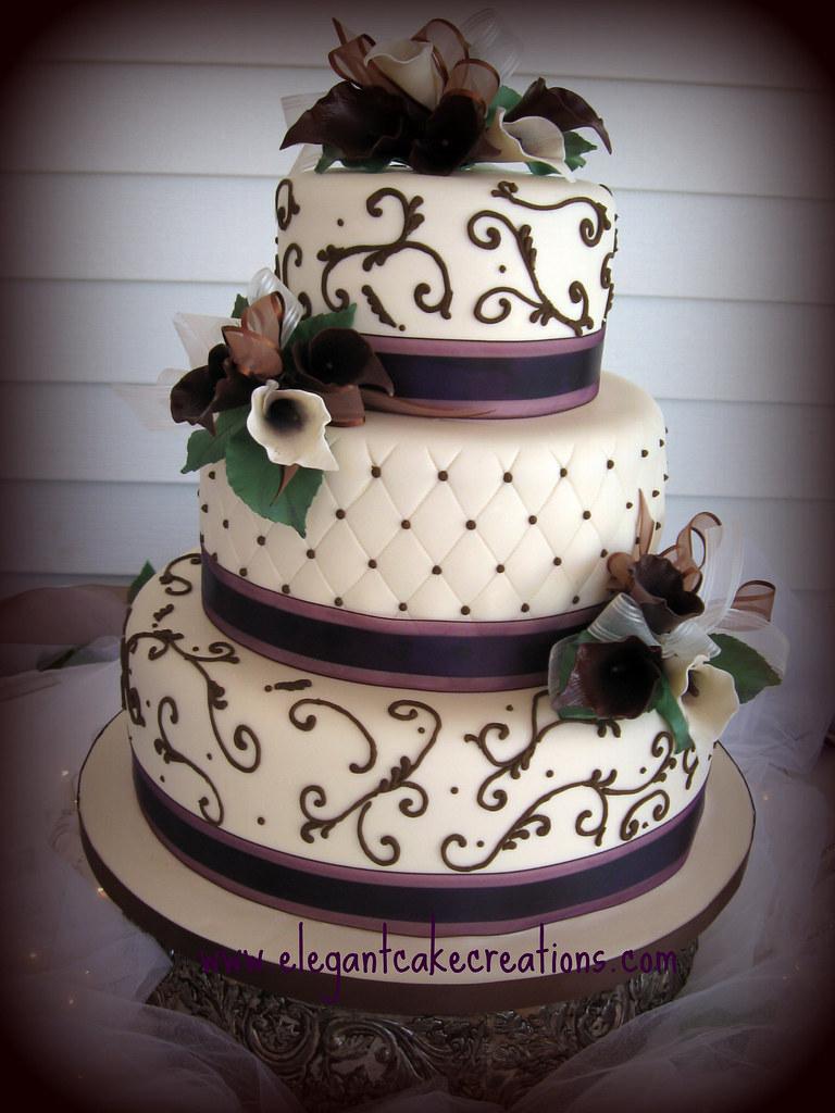 Burgundy Yellow Grey Wedding Cake
