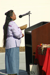 Julie Tumamait-Stenslie explains the Chumash tradition at Dolphin Fountain Dedication | by California State University Channel Islands