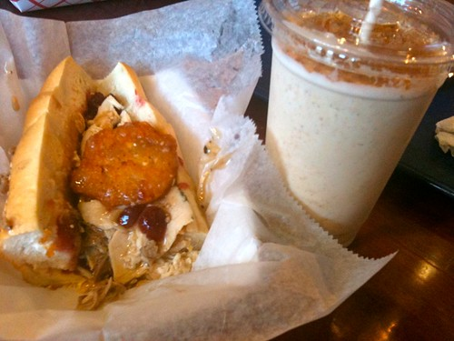 Turducken sandwich  and pumpkin pie shake- Jake's Sandwich Board | by Burger Baroness