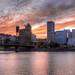 Another Sunset Over Portland Oregon Downtown - HDR