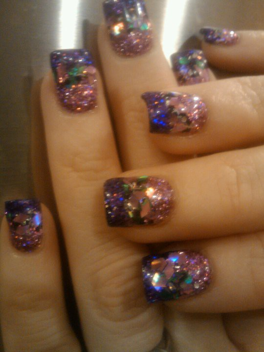 nail crack   6 glitters mixed with uv gel, acrylic overlay a…   Flickr