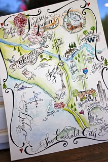 Seattle, WA Watercolored Wedding Map | by Miss Danae