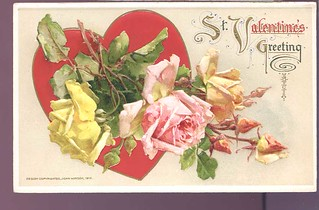 Valentine's day greeting  John Winsch 1912 Embossed roses  hol418 | by loveinterestingcards