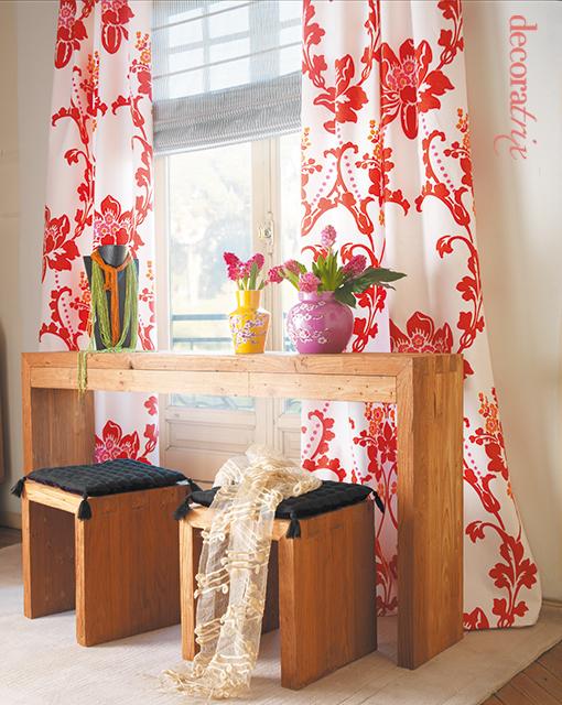 Cortinas estampadas con estor este rinconcito decorado for Cortinas de tela para living