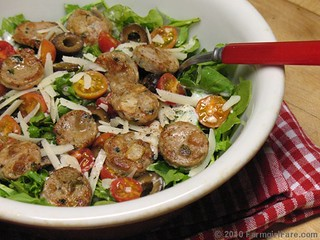 Arugula Salad with Cherry Tomatoes, Black Olives, Chicken Sausage, and Romano with Homemade Buttermilk Ranch Dressing | by Farmgirl Susan