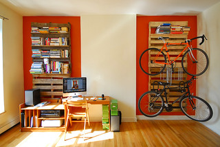 DIY Shipping Pallet Bookshelf and Bike Rack | by chris.shutter
