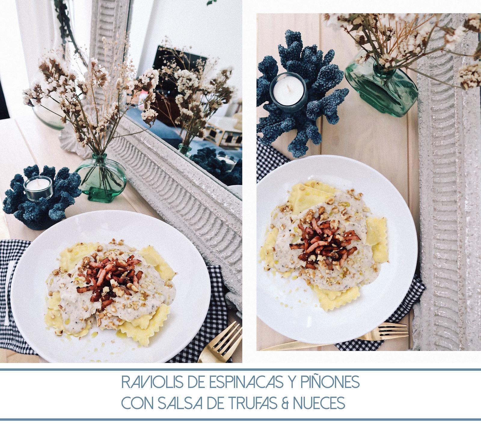 raviolis de espinaca con salsa de trufas