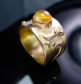 fire opal in 14 gold w rose gold overlay | by Different Seasons Jewelry