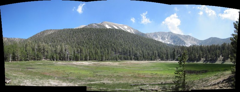 Panorama view of Dry Lake with Lake Peak and San Gorgonio Mountain, the nine peaks heading off to the right