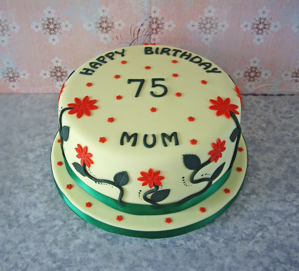 75th Birthday Cake Traditional Vanilla Sponge In A Garden Flickr