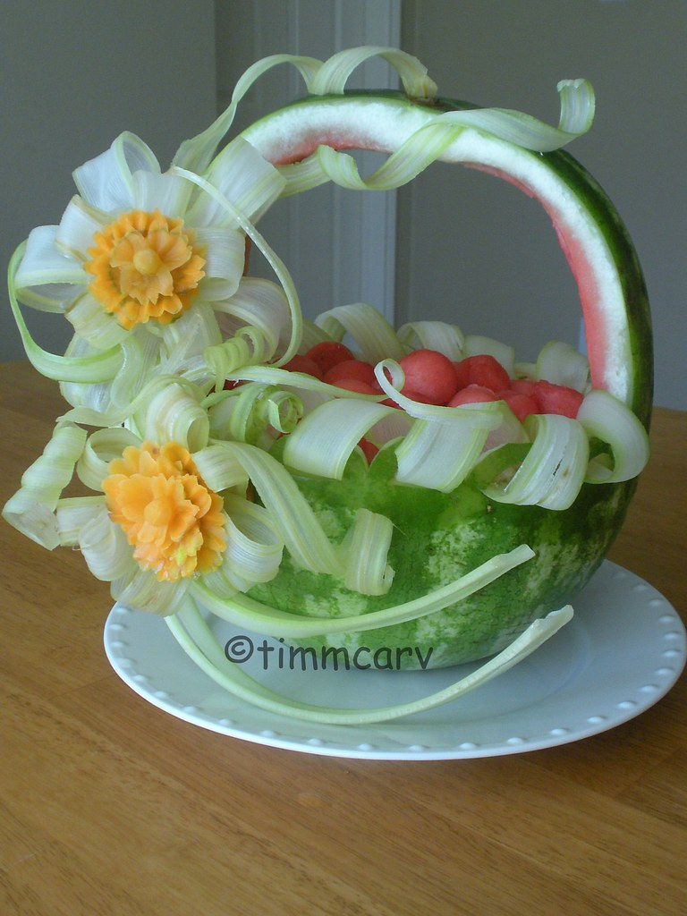 Celery ribbon basket a watermelon fruit carving