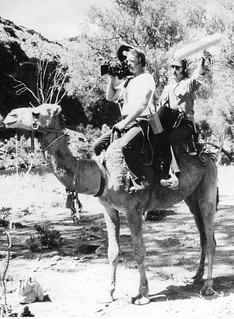 Crew on camel for 'Weekend Magazine'. | by ABC Archives