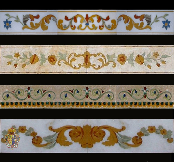 white marble inlay art tiles and border design   Mohammad Azhar