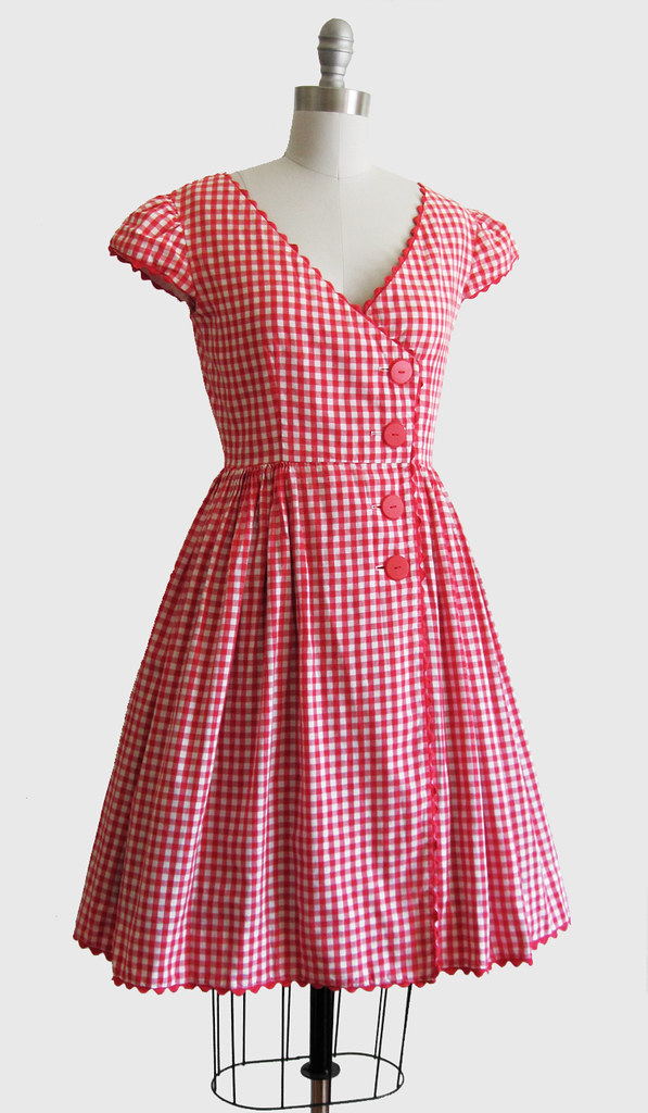 Vintage 1950s Red & White Gingham Summer Dress w/ Full Ski ...