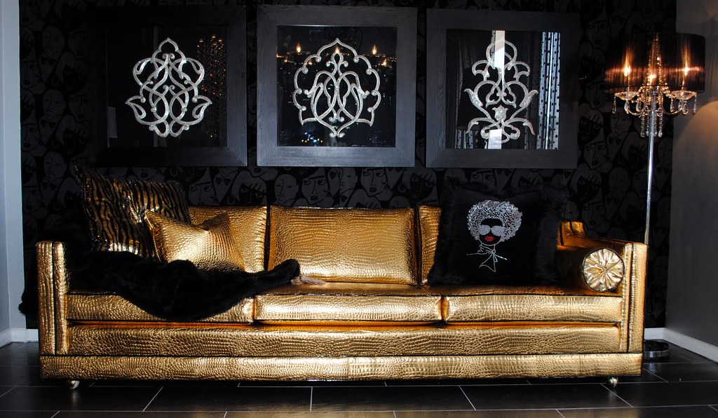 ... Rock Star Hollywood Glam Golden Sofa | By Diva Rocker Glam (424) 245  4503
