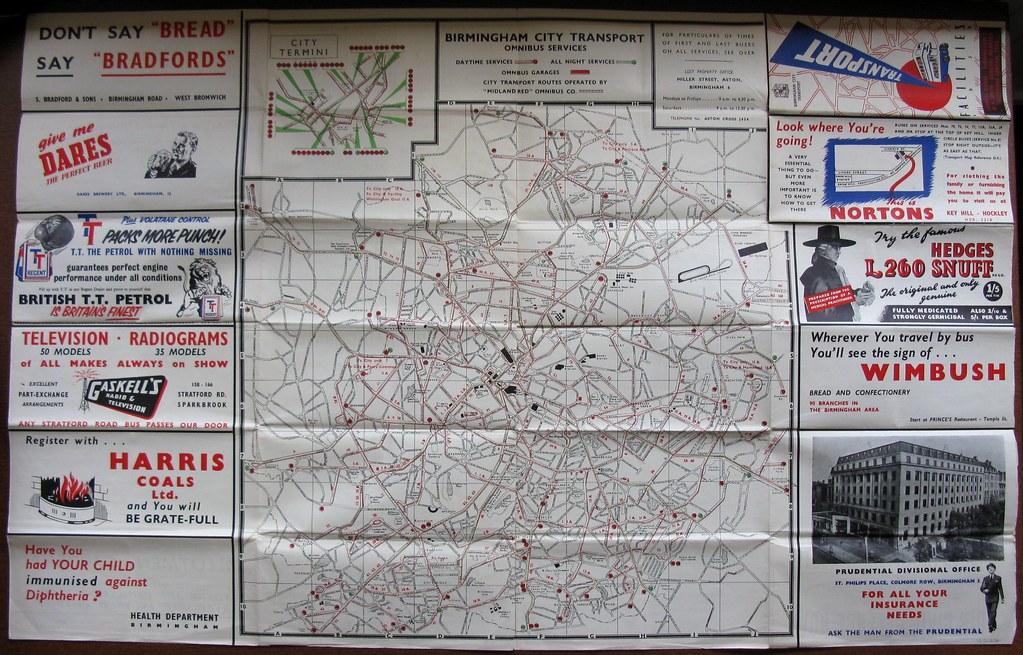 Birmingham City Transport transport facilities map 1954 Flickr