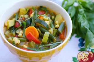 late summer vegetable pesto soup | by Food Blogga