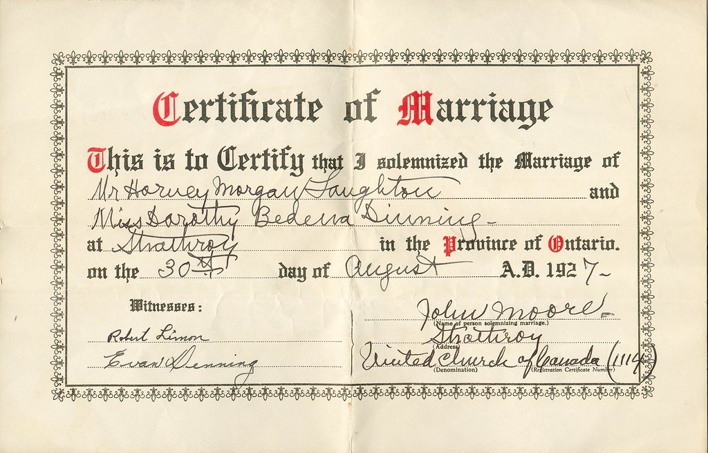 Marriage Certificate Of Harvey M Laughton To Dorothy B D Flickr