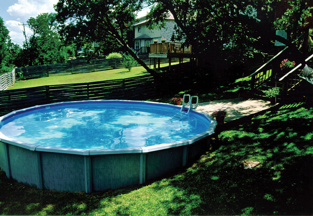 Above ground pool in sloped backyard flickr photo sharing - Images of above ground pools ...