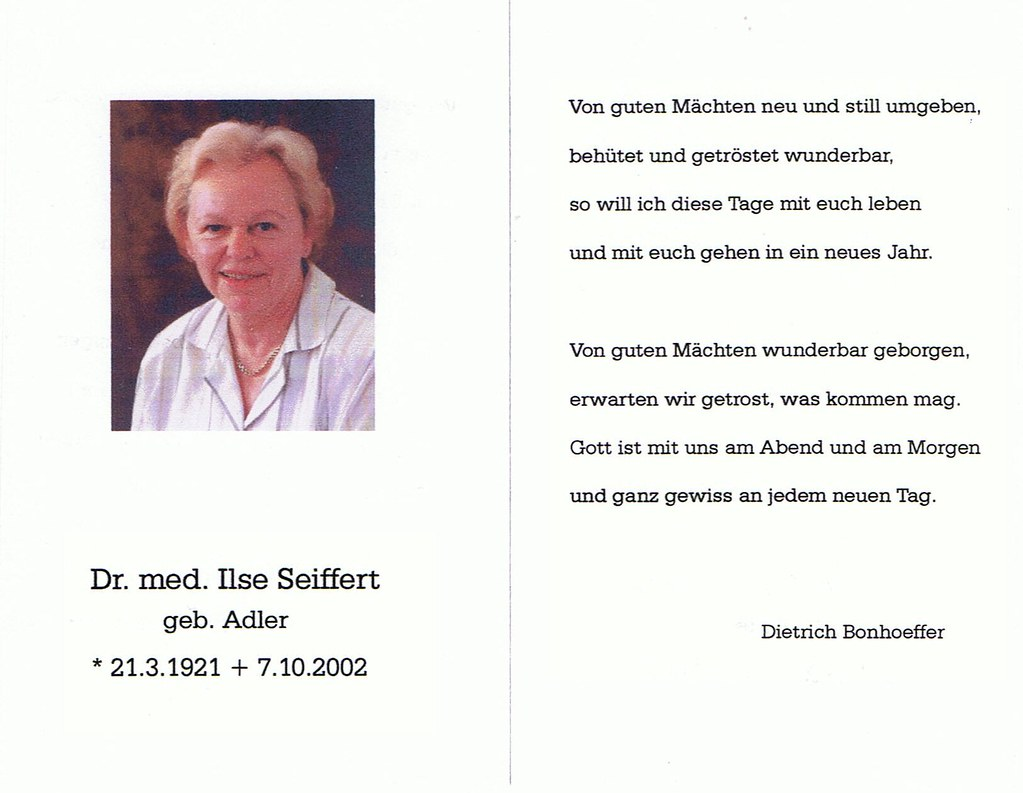 Totenzettel Adler, Ilse † 07.10.2002