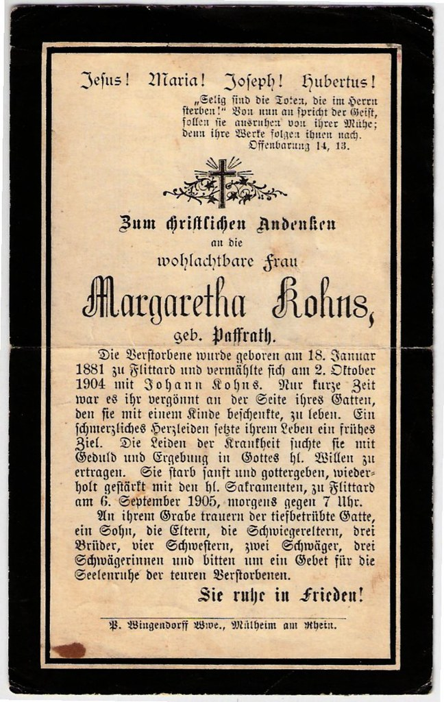 Totenzettel Kohns, Margaretha geb. Paffrath † 06.09.1905
