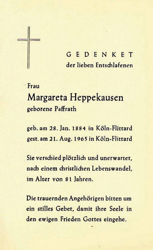 Totenzettel Paffrath, Margaretha † 21.08.1965