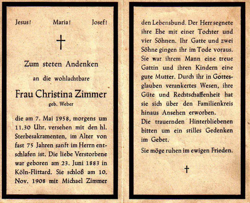 Totenzettel Zimmer, Christina geb. Weber † 07.05.1958