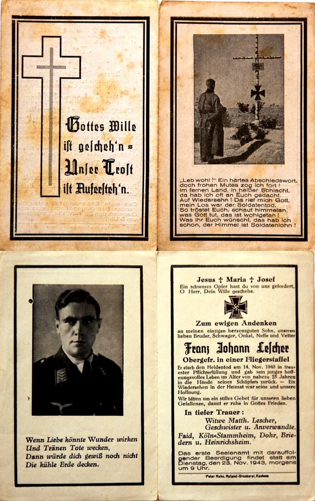 Totenzettel Lescher, Franz Johann † 14.11.1943