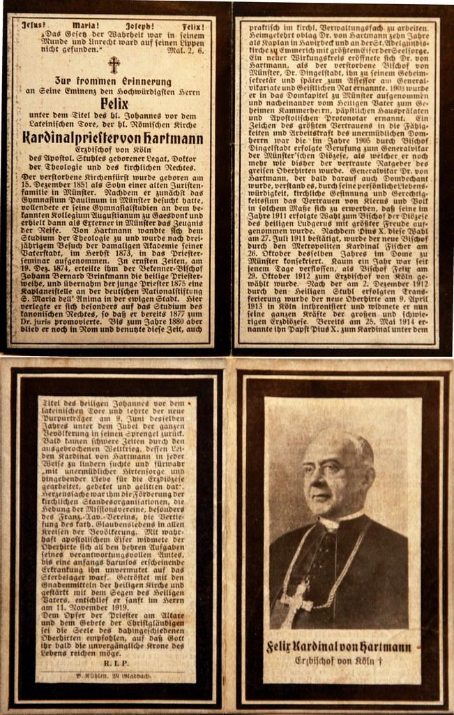 Totenzettel Hartmann, Felix von - Kardinal und Erzbischof von Köln † 11.11.1919