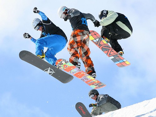 Getting air off the Wu-Tang in the Men's Snowboard Boardercross Finals - The Brits, Laax 2010 | by bobaliciouslondon