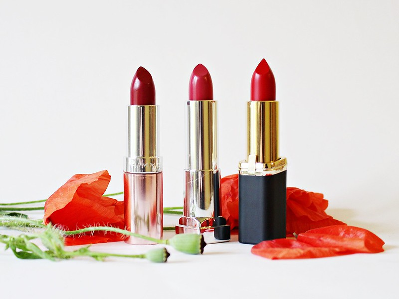 Piros rúzsok, Rimmel, Maybelline, L'Oréal